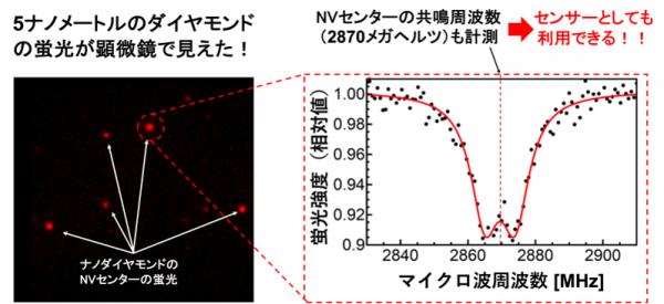 赤く蛍光発光する5ナノメートルのナノダイヤモンド