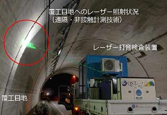 道路トンネル目地部におけるレーザー打音検査状況 1枚目