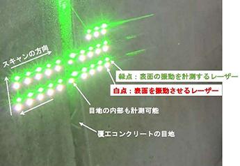 道路トンネル目地部におけるレーザー打音検査状況 2枚目