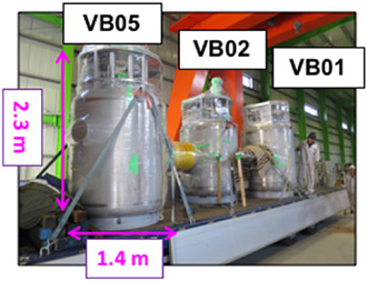 photo of Figure 2. VB01, VB02 and VB05 delivered to Naka Fusion Institute