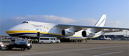 "photo of Figure 2. Large transport plane ""ANTONOV An-124"" has just arrived at Chubu Centrair International Airport"