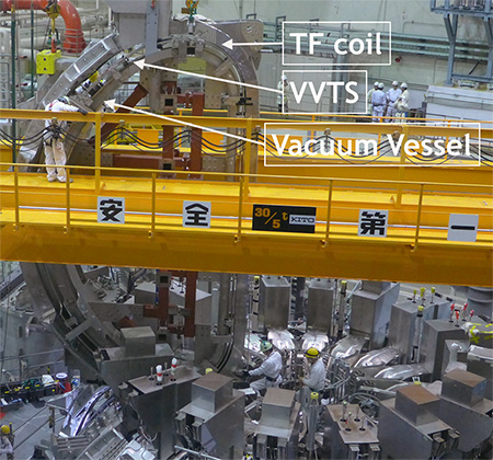 photo of Figure 2. 18th TF coil and VVTS assembled onto final 20°VV sector