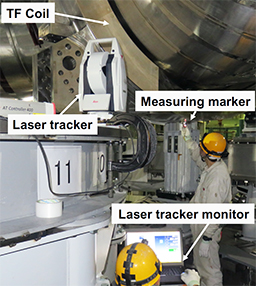 photo of Figure 2: Positioning the TF coil with a laser tracker
